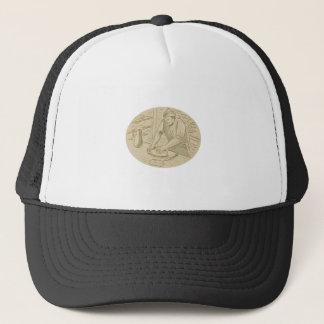 Medieval Baker Kneading Bread Dough Oval Drawing Trucker Hat