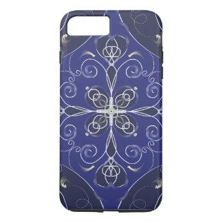 Medieval Baroque blue cobalt indigo dark pattern iPhone 8 Plus/7 Plus Case