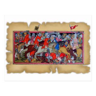 Medieval battle postcard