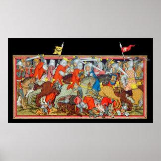 Medieval battle unique manuscript illumination print