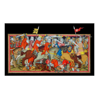 Medieval battle unique manuscript illumination poster