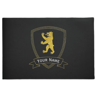 Medieval Bear Your Text and Color Doormat