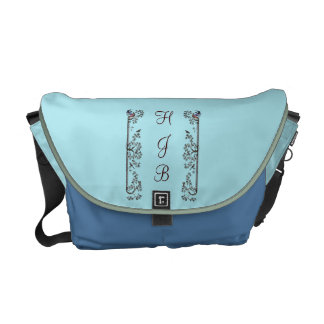 Medieval Birds and Leaves Monogram Courier Bags