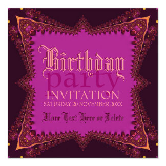 Medieval Bohemian Girl Pink Party Invitation