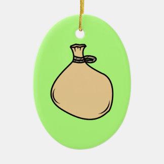 Medieval Brown Sack Bag Ceramic Ornament