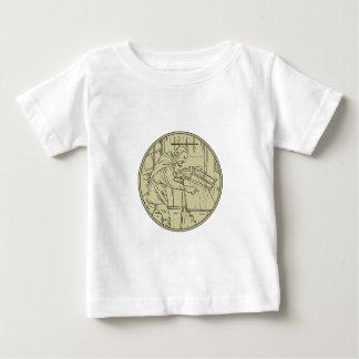 Medieval Carpenter Sawing Wood Circle Retro Baby T-Shirt