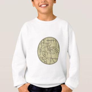 Medieval Carpenter Sawing Wood Circle Retro Sweatshirt