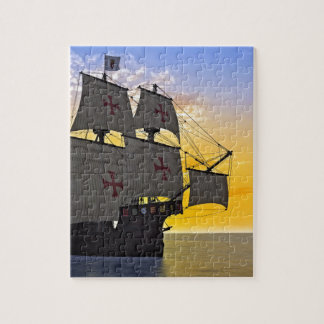 medieval carrack at sunset jigsaw puzzle