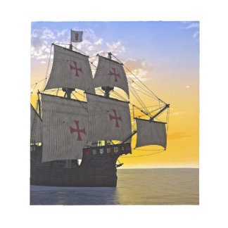 medieval carrack at sunset notepad