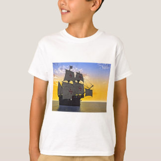 medieval carrack at sunset T-Shirt