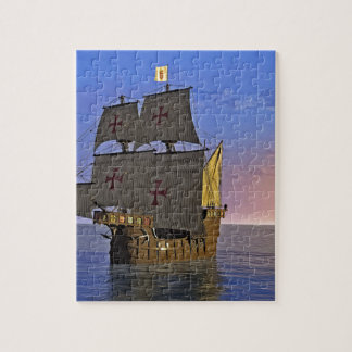 Medieval Carrack at Twilight Jigsaw Puzzle