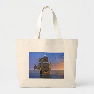 Medieval Carrack at Twilight Large Tote Bag