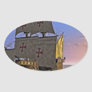 Medieval Carrack at Twilight Oval Sticker