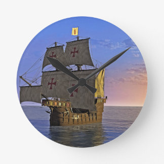 Medieval Carrack at Twilight Round Clock