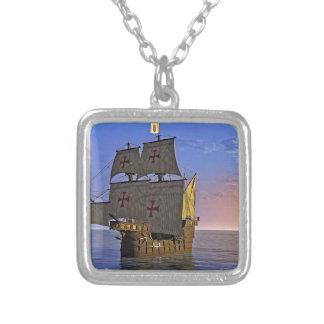 Medieval Carrack at Twilight Silver Plated Necklace