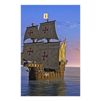 Medieval Carrack at Twilight Stationery