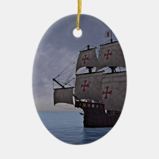 Medieval Carrack Becalmed Ceramic Ornament