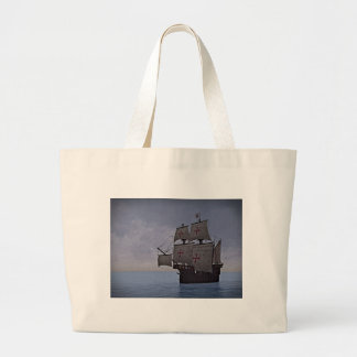 Medieval Carrack Becalmed Large Tote Bag