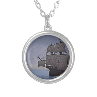 Medieval Carrack Becalmed Silver Plated Necklace