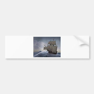 Medieval Carrack in the Storm Bumper Sticker