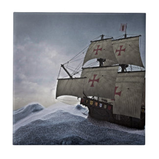 Medieval Carrack in the Storm Ceramic Tile