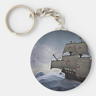 Medieval Carrack in the Storm Key Ring