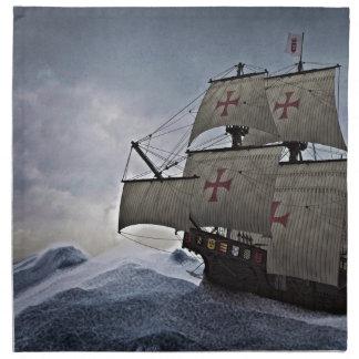 Medieval Carrack in the Storm Napkin