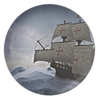 Medieval Carrack in the Storm Plate
