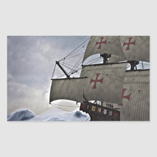 Medieval Carrack in the Storm Rectangular Sticker