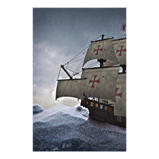 Medieval Carrack in the Storm Stationery