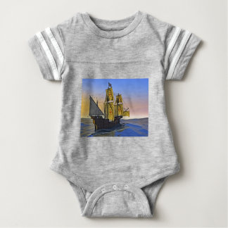 Medieval Carrack Leaving the rough water at Sunset Baby Bodysuit