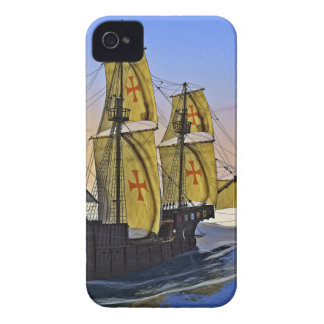 Medieval Carrack Leaving the rough water at Sunset Case-Mate iPhone 4 Case