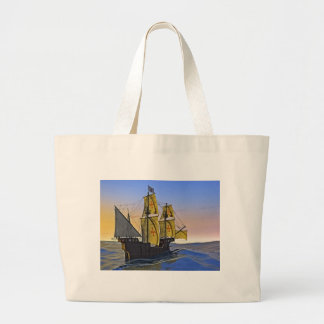 Medieval Carrack Leaving the rough water at Sunset Large Tote Bag