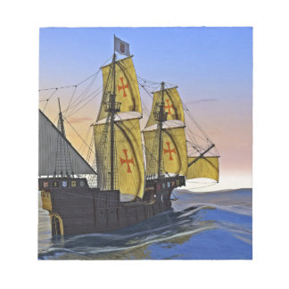 Medieval Carrack Leaving the rough water at Sunset Notepad