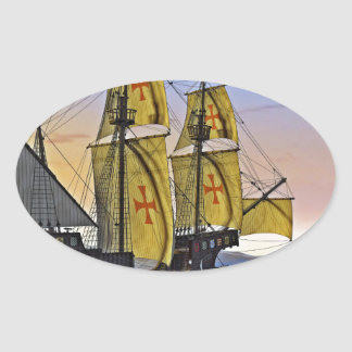 Medieval Carrack Leaving the rough water at Sunset Oval Sticker