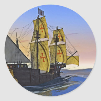 Medieval Carrack Leaving the rough water at Sunset Round Sticker