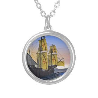 Medieval Carrack Leaving the rough water at Sunset Silver Plated Necklace