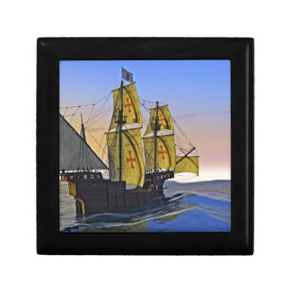 Medieval Carrack Leaving the rough water at Sunset Small Square Gift Box