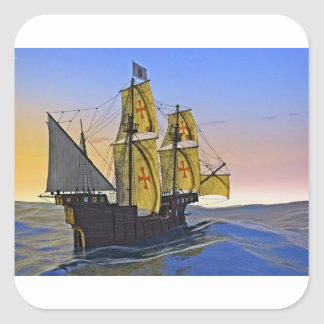 Medieval Carrack Leaving the rough water at Sunset Square Sticker