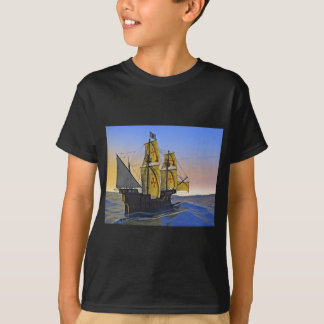 Medieval Carrack Leaving the rough water at Sunset T-Shirt