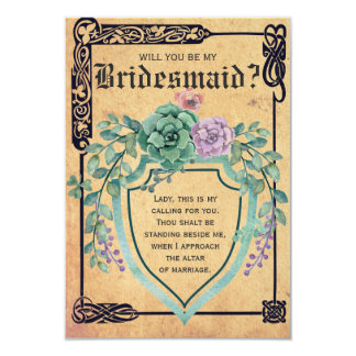 Medieval Celtic Flower Will you be my Bridesmaid? Card