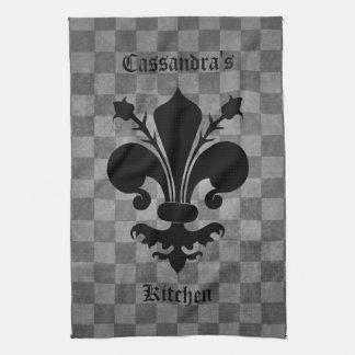 Medieval checkerboard fleur de lis tea towel