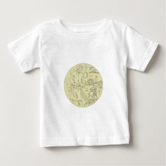 Medieval Cook Kitchen Oval Drawing Baby T-Shirt