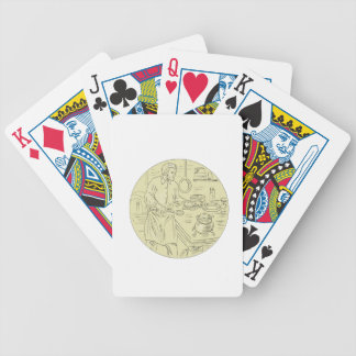 Medieval Cook Kitchen Oval Drawing Bicycle Playing Cards