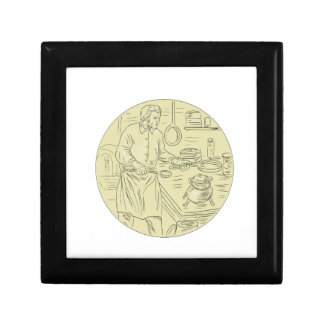 Medieval Cook Kitchen Oval Drawing Gift Box