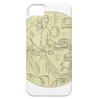 Medieval Cook Kitchen Oval Drawing iPhone 5 Case