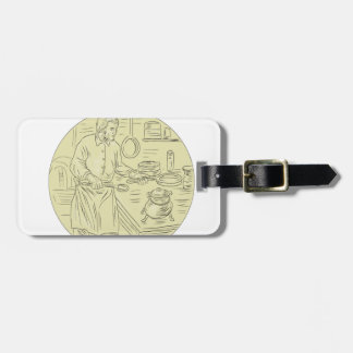 Medieval Cook Kitchen Oval Drawing Luggage Tag