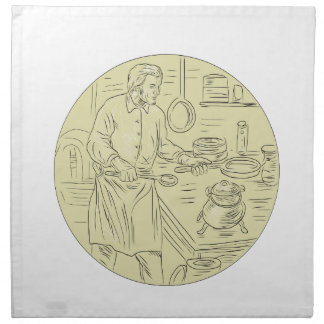 Medieval Cook Kitchen Oval Drawing Napkin