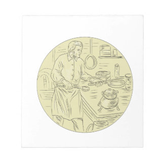 Medieval Cook Kitchen Oval Drawing Notepad