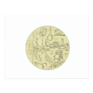 Medieval Cook Kitchen Oval Drawing Postcard